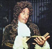 The actor Mike Shannon in costume as Samuel Pepys in 1987